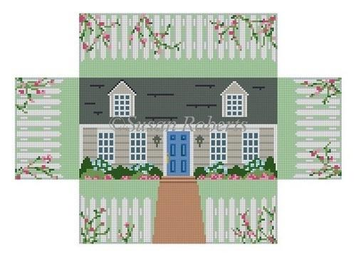Cape Cod House Brick Cover Painted Canvas Susan Roberts Needlepoint Designs, Inc.
