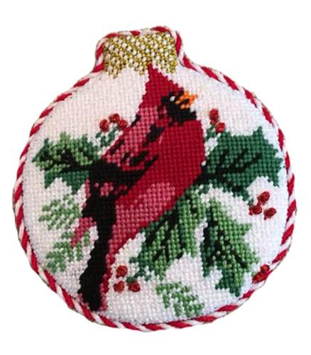 Cardinal Reflection Ornament Painted Canvas Whimsy and grace