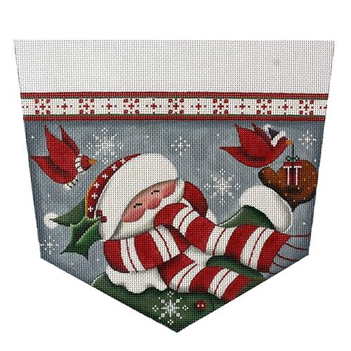 Cardinal Santa Stocking Topper on 13 mesh Painted Canvas Rebecca Wood Designs