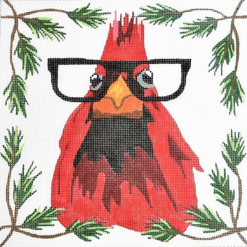 Cardinal with Glasses Painted Canvas Danji Designs