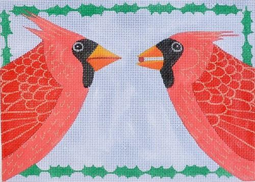 Cardinals & Holly Painted Canvas Maggie Co.