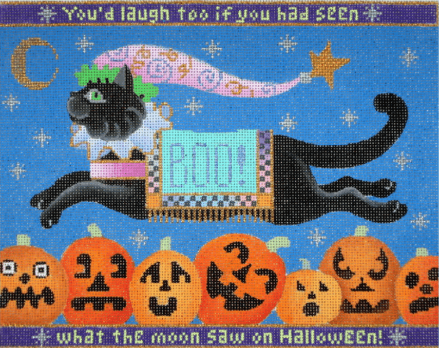Cat Jumping Over Pumpkins Painted Canvas Brenda Stofft Designs