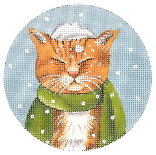Cat Ornaments - Orange Cat Painted Canvas Mary Lake Thompson