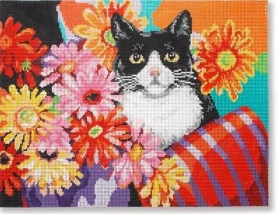 Cat w/ Flowers Painted Canvas CBK Needlepoint Collections