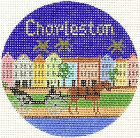 Charleston Ornament Painted Canvas Silver Needle