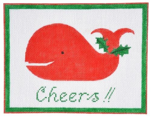 Cheers Christmas Whale Painted Canvas Kate Dickerson Needlepoint Collections