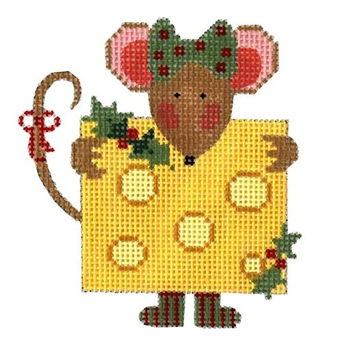 Cheese Mouse with Stitch Guide Painted Canvas Danji Designs