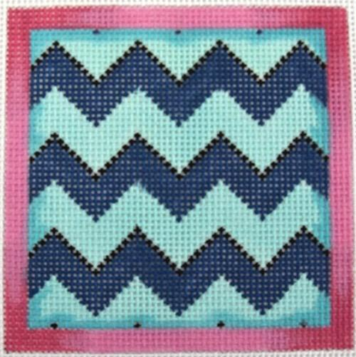 Chevron Coaster Aqua / Navy Painted Canvas Associated Talents