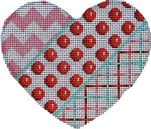 Chevron / Coin Dot / Tattersall Heart Painted Canvas Associated Talents