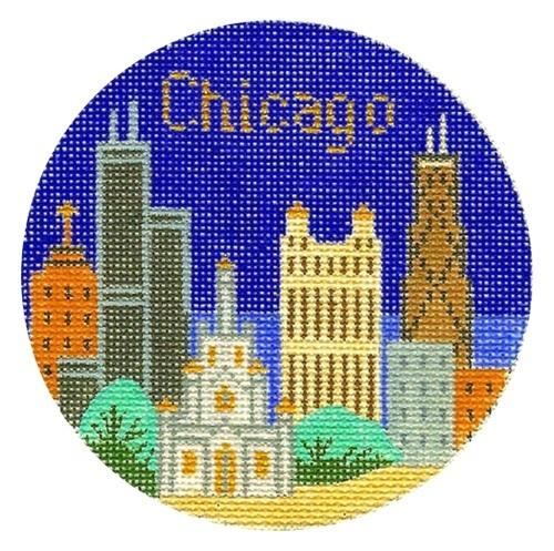 Chicago Ornament Painted Canvas Silver Needle