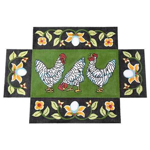 Chickens with Egg Border Brick Cover Painted Canvas The Meredith Collection