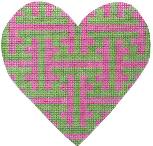 Chinoiserie Lattice Mini Heart Painted Canvas Kate Dickerson Needlepoint Collections