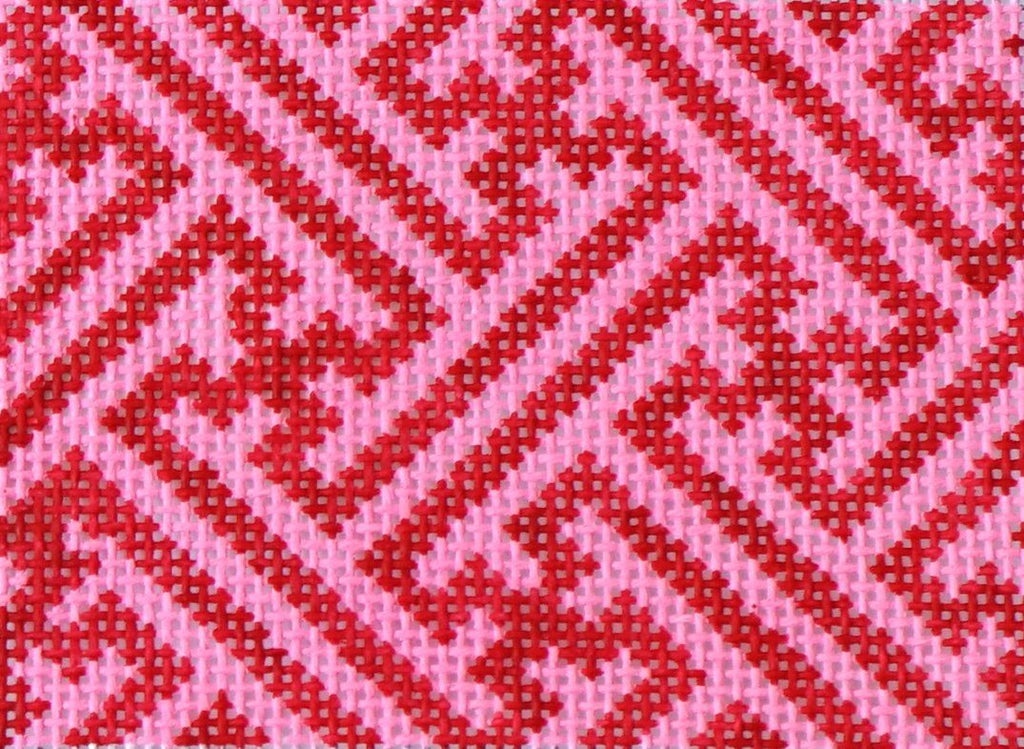 Chinoiserie Lattice - Red & Pink Painted Canvas Kate Dickerson Needlepoint Collections