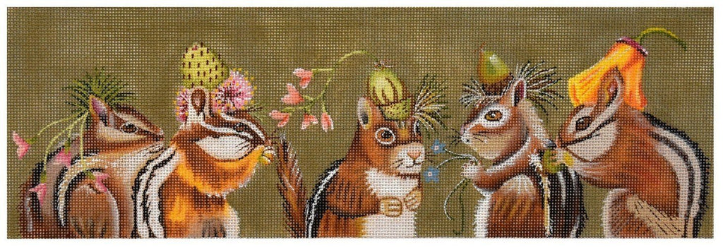 Chipmunk Party Painted Canvas Vicky Sawyer