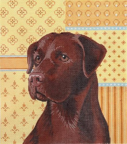 Chocolate Lab on 13 Painted Canvas Labors of Love Needlepoint