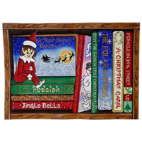 Christmas Books Painted Canvas Alice Peterson
