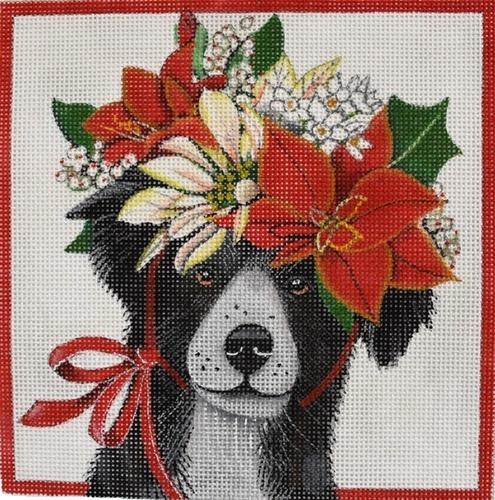 Christmas Border Collie Painted Canvas Mary Lake Thompson