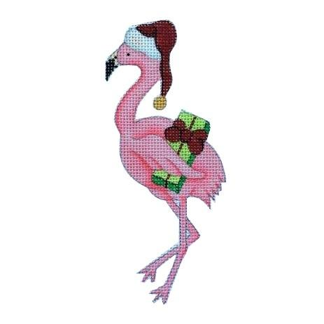 Christmas by the Sea - Flamingo with Santa Hat Painted Canvas Burnett & Bradley
