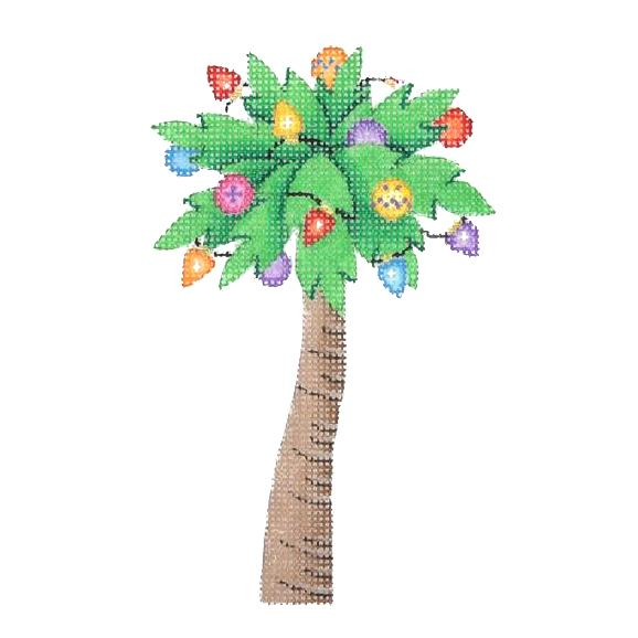 Christmas by the Sea - Palm Tree Decorated with Lights Painted Canvas Burnett & Bradley