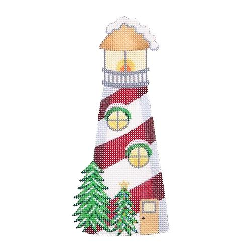 Christmas by the Sea - Red & White Lighthouse Painted Canvas Burnett & Bradley