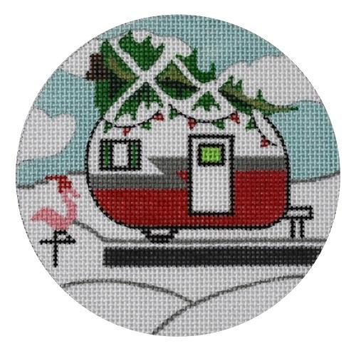 Christmas Campervan Round Painted Canvas Danji Designs