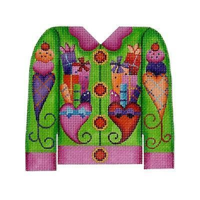 Christmas Cardigan - Packages on Green Painted Canvas Burnett & Bradley