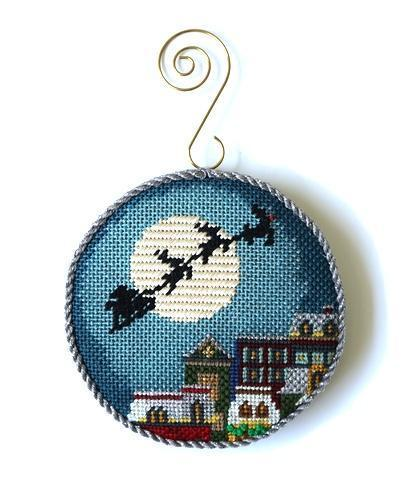 Christmas Eve Town Ornament Painted Canvas Abigail Cecile