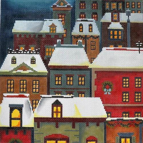 Christmas Eve Town Pillow Painted Canvas Abigail Cecile