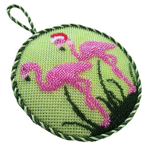 Christmas Flamingos Painted Canvas Vallerie Needlepoint Gallery
