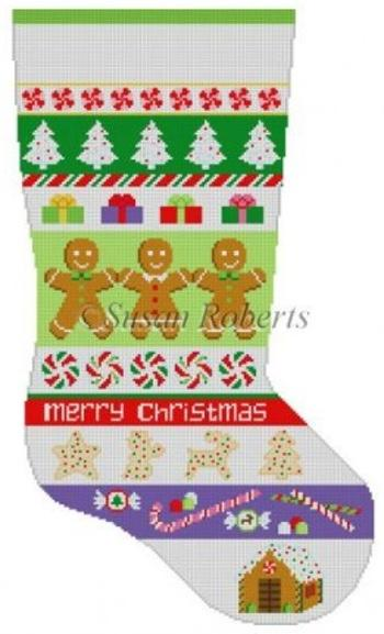 Christmas Goodies Stripe Stocking Painted Canvas Susan Roberts Needlepoint Designs, Inc.