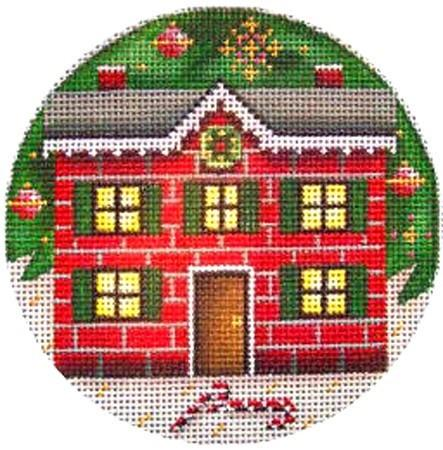 Christmas House Painted Canvas Rebecca Wood Designs