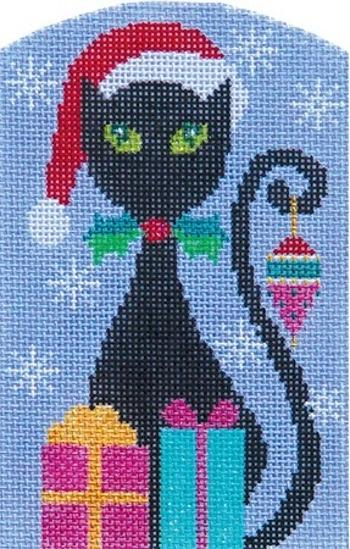 Christmas Kitty Black Painted Canvas Shelly Tribbey