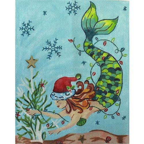 Christmas Mermaid Painted Canvas Oasis Needlepoint