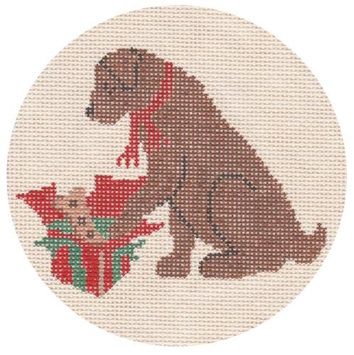 Christmas Morning - Chocolate Lab Painted Canvas CBK Needlepoint Collections