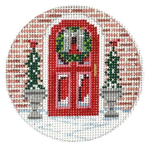 Christmas Red Door Painted Canvas Alice Peterson Company