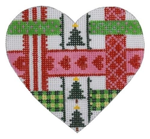 Christmas Ribbons Heart Painted Canvas Kate Dickerson Needlepoint Collections