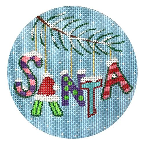 Christmas Santa Ornament Painted Canvas PLD Designs
