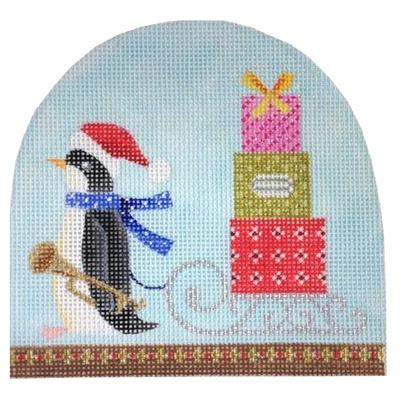 Christmas Snowdome - Penguin & Sled Painted Canvas Kirk & Bradley