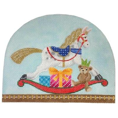 Christmas Snowdome - Rocking Horse Painted Canvas Kirk & Bradley