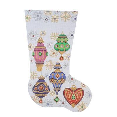 Christmas Stocking - Christmas Balls & Snowflakes Painted Canvas Burnett & Bradley