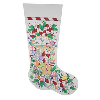 Christmas Stocking - Christmas Candy Painted Canvas Burnett & Bradley