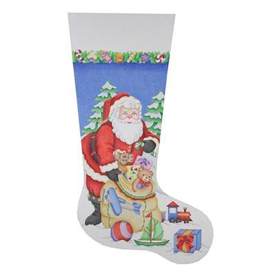Christmas Stocking - Santa Opening Toy Bag Painted Canvas Burnett & Bradley