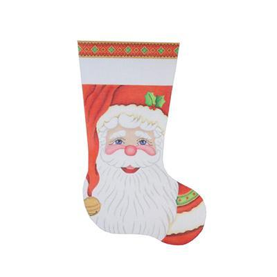Christmas Stocking - Santa Painted Canvas Burnett & Bradley