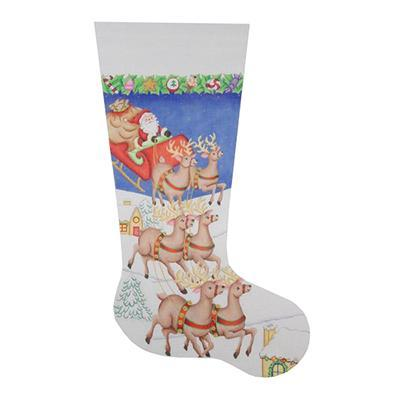 Christmas Stocking - Santa, Sleigh, Reindeers Landing Painted Canvas Burnett & Bradley