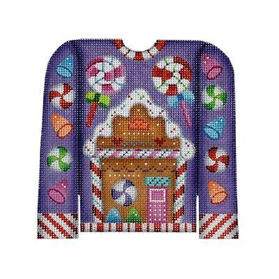 Christmas Sweater - Gingerbread House on Purple Painted Canvas Burnett & Bradley
