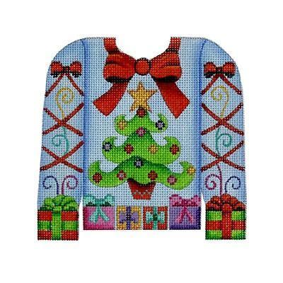 Christmas Sweater - Tree & Presents on Pale Blue Painted Canvas Burnett & Bradley