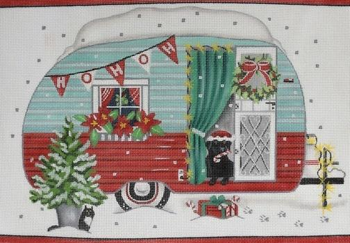 Christmas Trailer Painted Canvas Mary Lake Thompson