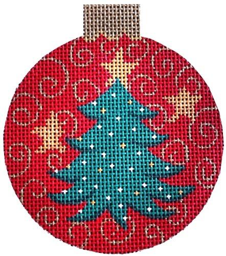 Christmas Tree Ball Ornament Painted Canvas Vallerie Needlepoint Gallery