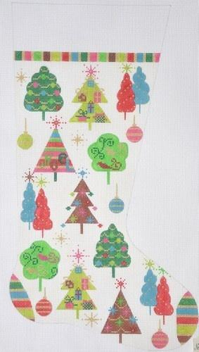Christmas Trees Stocking Painted Canvas Alice Peterson