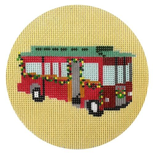 Christmas Trolley Painted Canvas Blue Ridge Stitchery